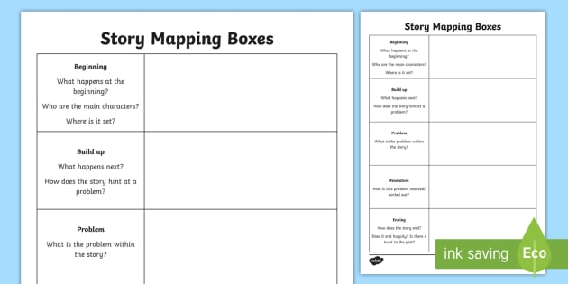 Story Mapping Boxes Worksheet - boxing up a story, talk 4 writing