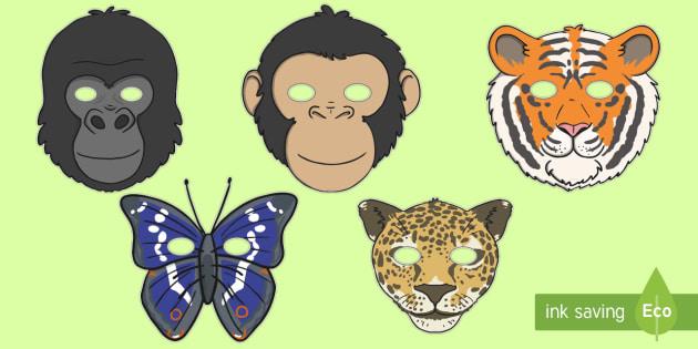 Jungle  Rainforest Role Play Masks - Jungle, rainforest, animal