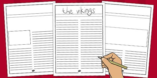 Viking Newspaper Writing Template - vikings, newspaper template - news paper template