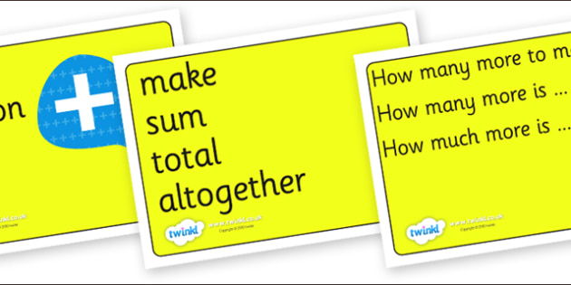 Maths Signs and Vocabulary Posters for Visually Impaired - maths, signs