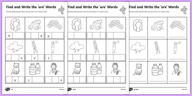 Find and Write the ure Words Differentiated Worksheet / Activity