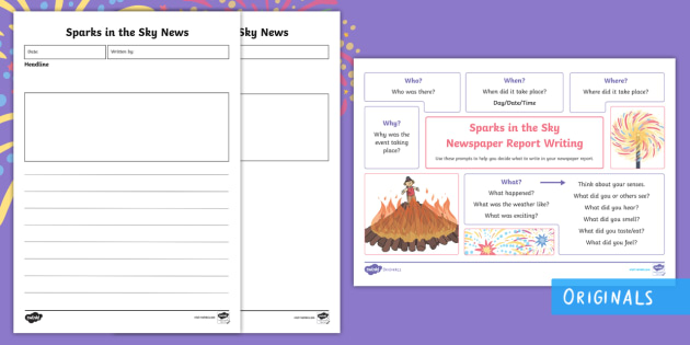 Sparks in the Sky Newspaper Report Writing Template Resource Pack