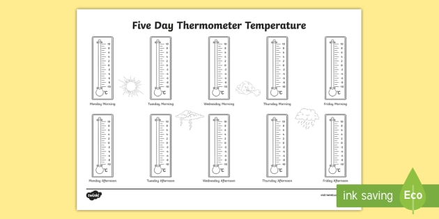 Five Day Thermometer Temperature Celsius Worksheet / Worksheet