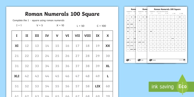 Roman Numerals Fill in the Number Square Worksheet - roman - roman numeral chart template
