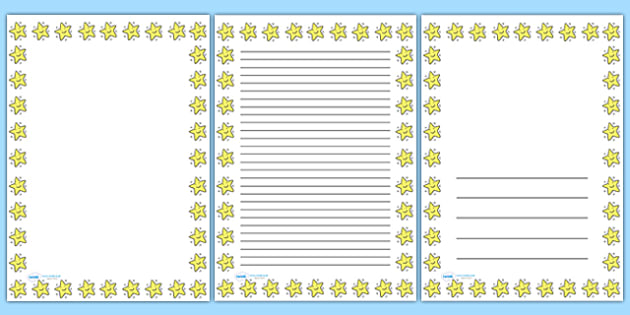 Smiley Star Portrait Page Borders- Portrait Page Borders - Page - printable writing paper with border