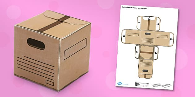 Real Life Object 3d Shapes Cube Packing Box Paper Model