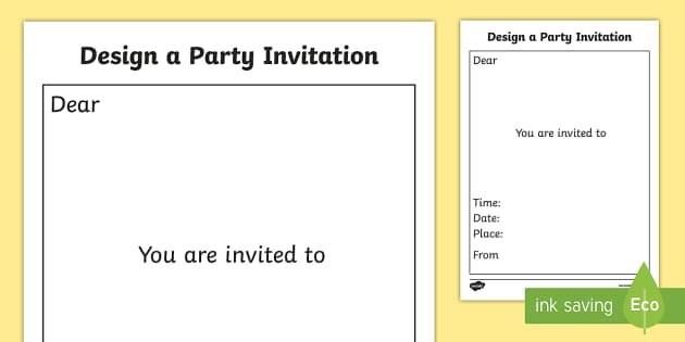 FREE! - Design a Party Invitation Template - design, design a party