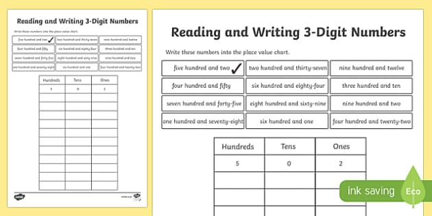 Place Value Reading and Writing 3-Digit Numbers Worksheet /