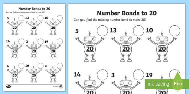 Number Bonds To 20 On Robots Worksheet Number Bonds 20