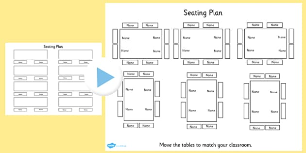 Editable Table Seating Plan PowerPoint - table, seating plan - Classroom Seating Chart Templates