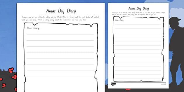 Anzac Day Diary Writing Template - writing, diary, Anzac, literacy, new