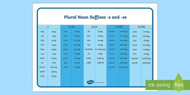 Year 1 Spag Plural Noun Suffixes Singular And Plural S And