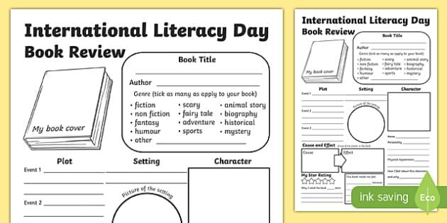 International Literacy Day KS2 Book Review - book reviews template