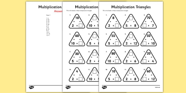 Multiplication Triangles Worksheet Activity Sheet 2 5