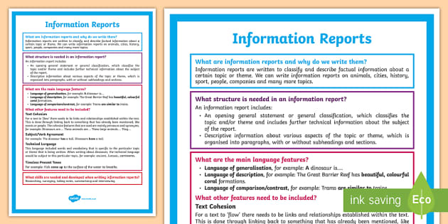 What Is An Information Report A4 Display Poster Literacy