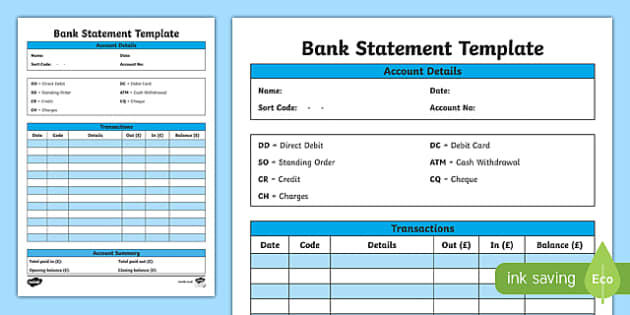 Bank Statement Template - CfE, everyday maths, real life maths, money