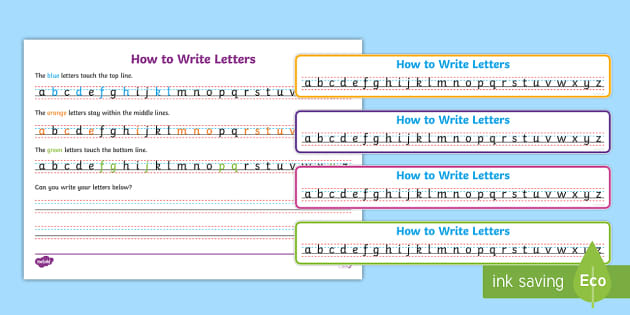 FREE! - How to write letters Writing Strips - Write name, line guide