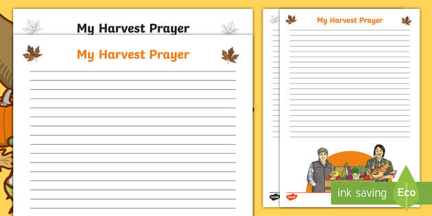 Harvest Prayer Writing Template - Blank, Autumn, Assembly, Display