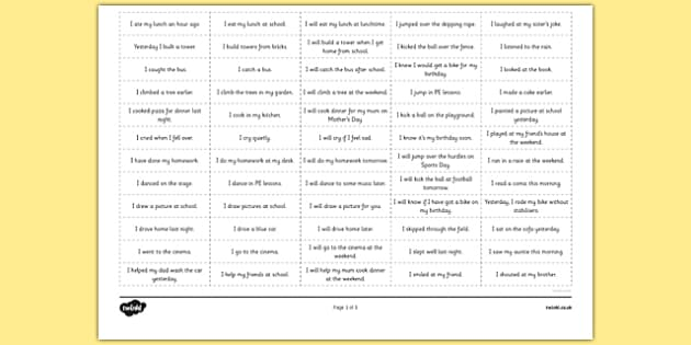 Simple Verbs Past Present And Future Sorting Examples In