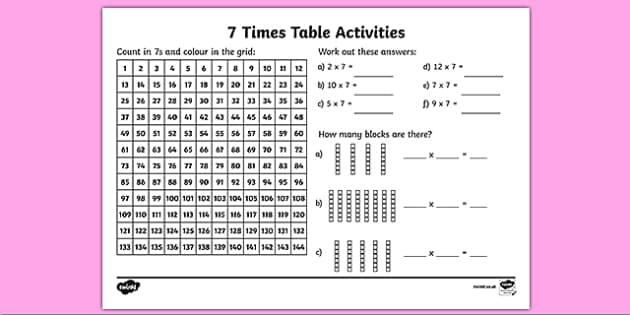 Times Tables 7 Times Tables Primary Resources