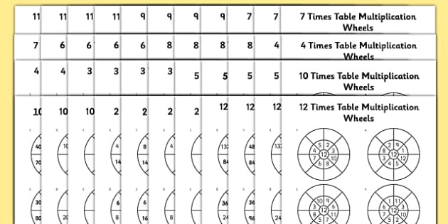 2 To 12 Times Table Multiplication Wheels Bumper Worksheet