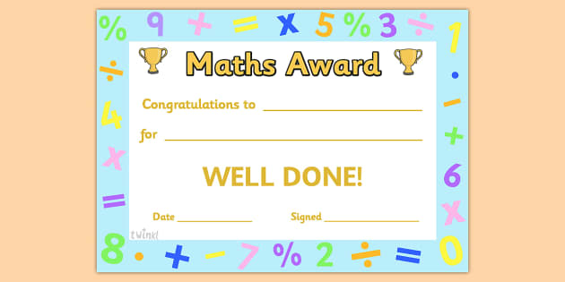 List of Synonyms and Antonyms of the Word math award certificate - printable math awards
