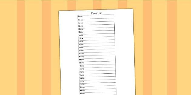 Editable Class List Template - class list, editable, template - class list template