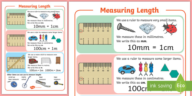 Ks1 Maths Measuring Length A4 Display Poster Measure Long