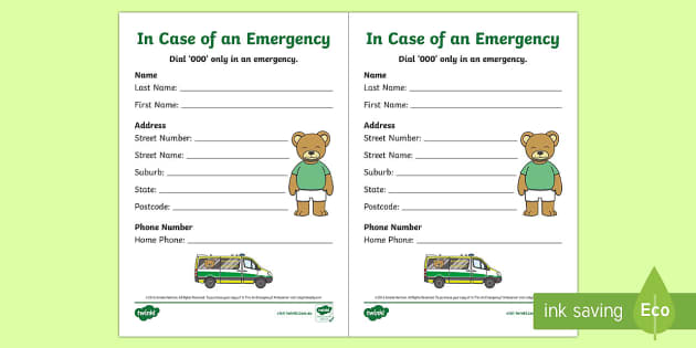 NEW * Emergency Contact Details Writing Template to Support Teaching