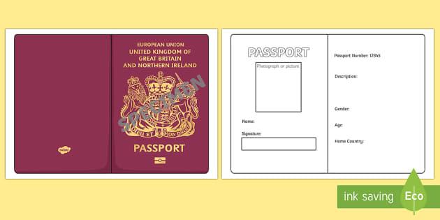 fake uk passport template