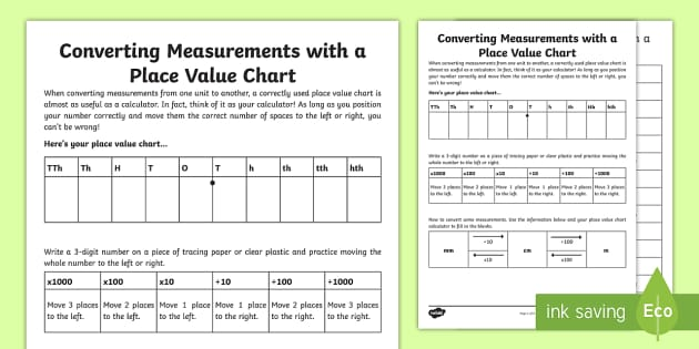 Converting Measurements With A Place Value Chart Worksheet / - place value chart
