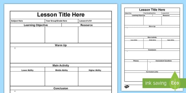 Lesson Plan Template - lesson plan, australia planning template