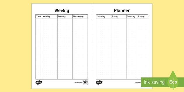 Bullet Journal Weekly Planner Template - Bullet Journal, bujo