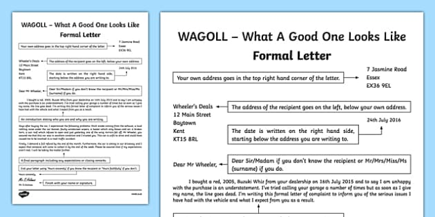 WAGOLL Formal Letter Writing Sample - formal letters