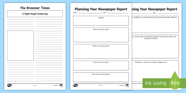 Braemar Gathering Newspaper Report Planning and Template Activity Pack