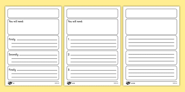 Instructions Writing Frame Template Differentiated - instructions