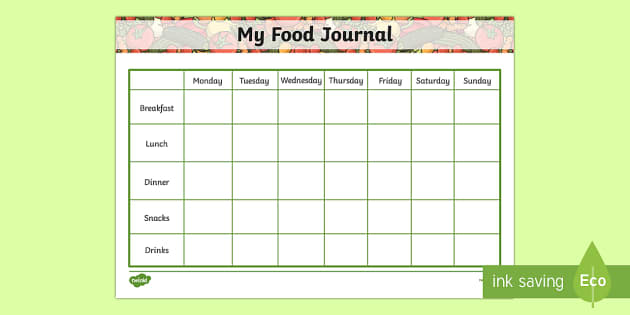 food diary worksheets