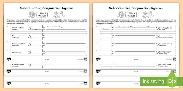Subordinating Conjunction Worksheets Oaklandeffect