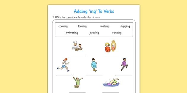 Adding Ing To Verbs Activity Adding Verbs Activity Ing