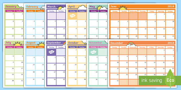 2018 Monthly Calendar Planning Template - Monthly Calendar - calendar template