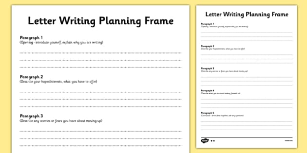 Transition Letter Writing Differentiated Planning Frame - Year 6 to