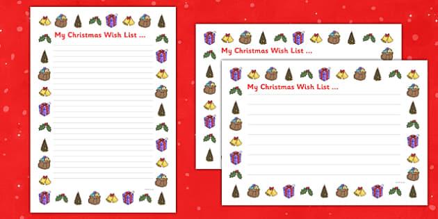 My Christmas Wish List - my christmas, wish list, christmas - christmas wish list paper