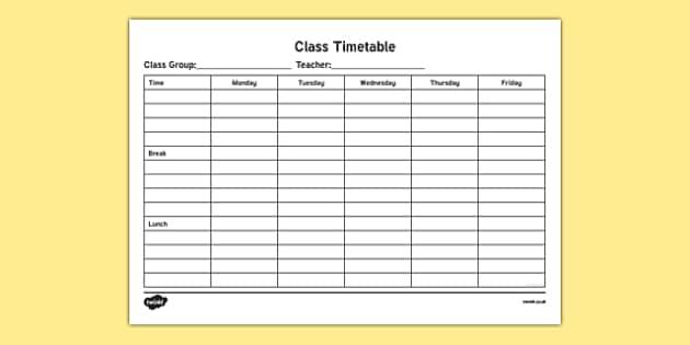 ROI Class Timetable Checklist-Irish - class timetable