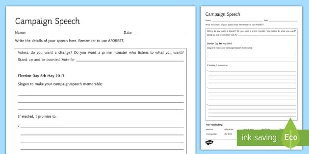 Political Speech Planning Template - structure, politics, political