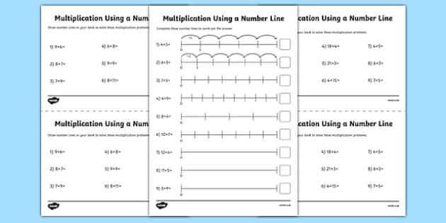 Multiplication On A Number Line Worksheet Activity Sheet