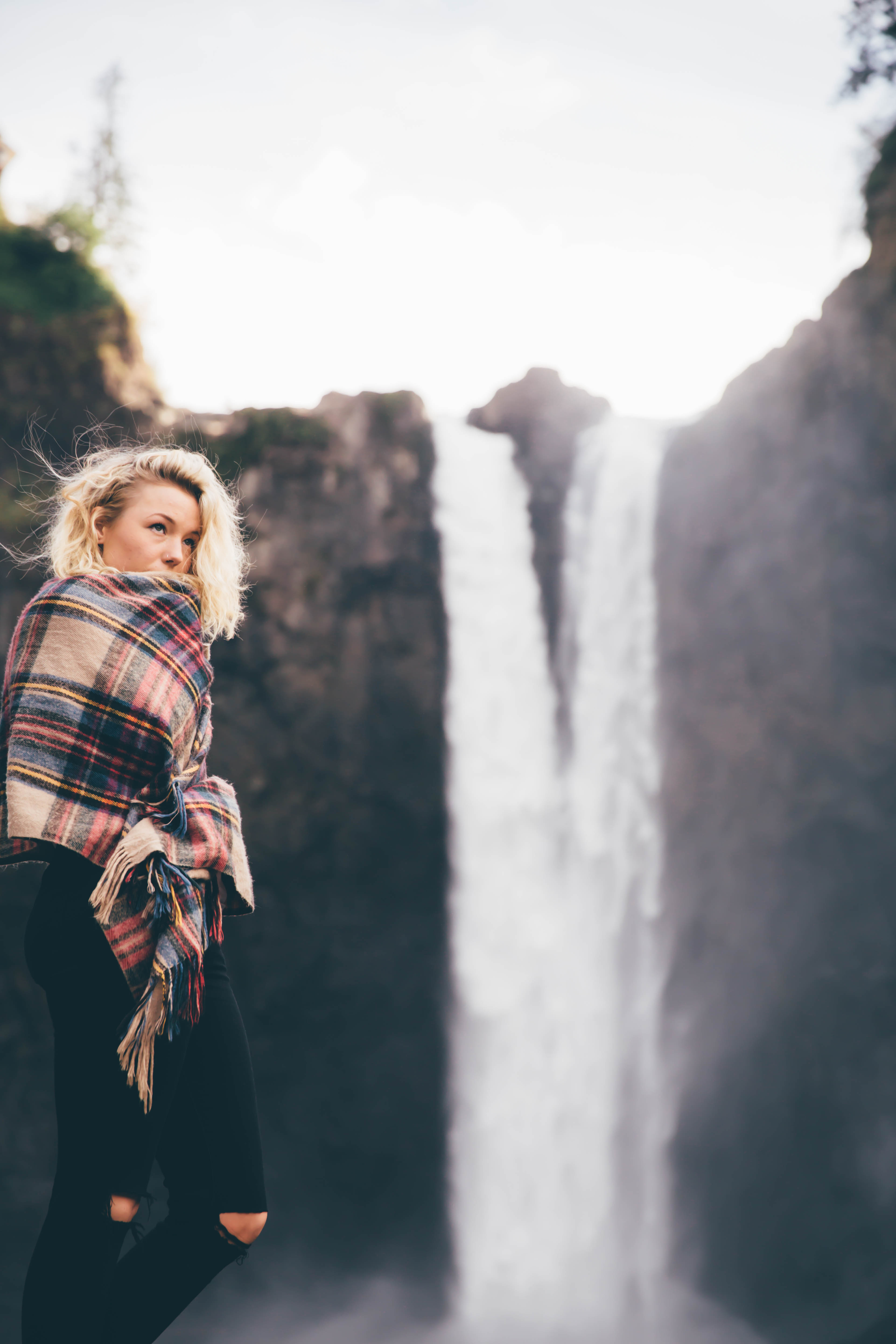Fall Of The Leafe Wallpaper Woman By A Waterfall Photo By Greg Raines Lionsdenpro