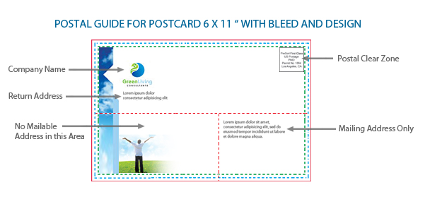 Standard Postcard Size Printing  Guide UPrinting - Sample 5x7 Envelope Template