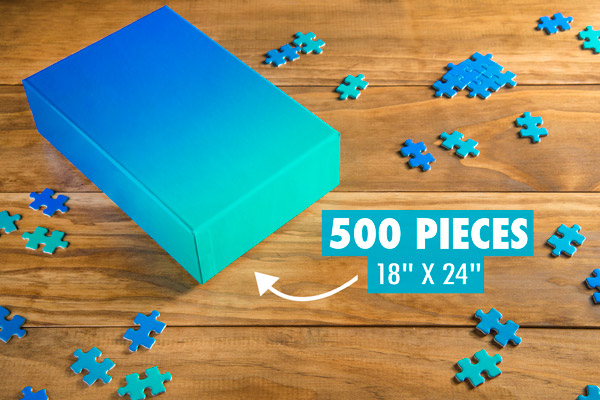 Gradient Puzzle Jigsaw with gradual color shift from blue to green