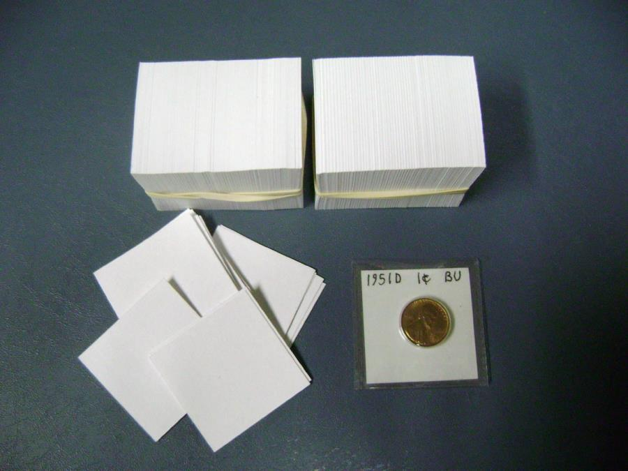 White Acid-Free Insert Cards for 2 x 2 SAFLIPs - pack of 500