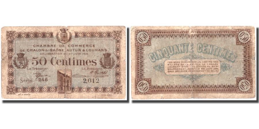 France, Châlon-sur-Saône, 50 Centimes, 1916, F(12-15), Pirot42-12 - Chambre Du Commerce Chalon Sur Saone